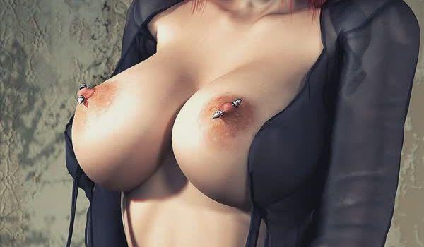 Mulheres 3D porno mostrando os peitos